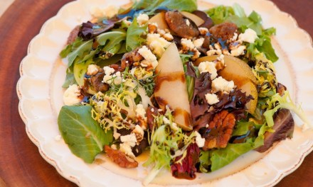 """Greens with Asian Pears and Fig/Maple Balsamic Vinaigrette"""