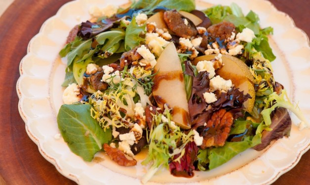 """""""Greens with Asian Pears and Fig/Maple Balsamic Vinaigrette"""""""