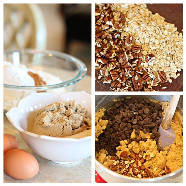 A collage of the ingredients used to make Chocolate Chip Oatmeal Cookies with Orange Glaze