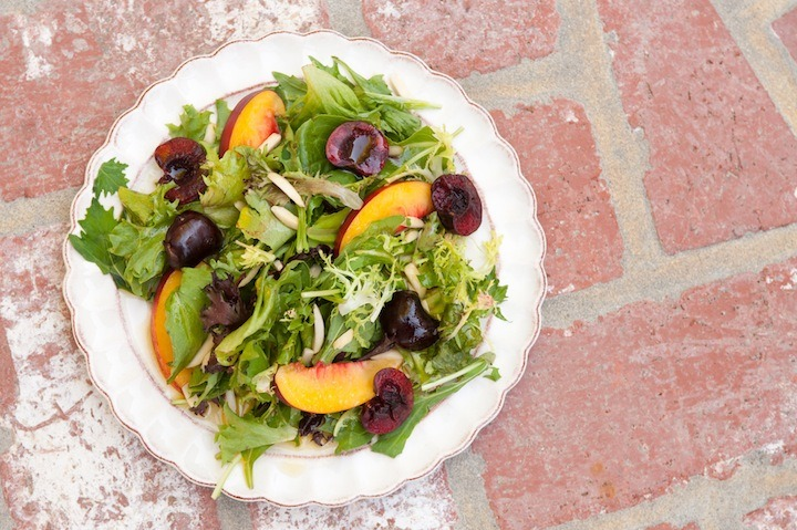Greens with Cherries, Nectarines and Passionfruit Vinaigrette!