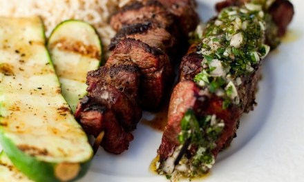 Argentinian Beef Kabobs with Chimichurri Sauce