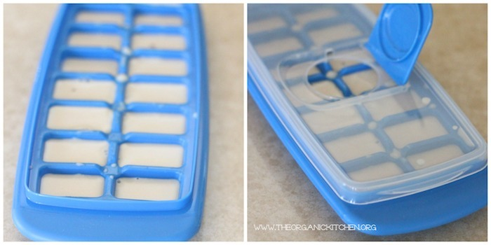 How to Make Almond Milk: Two ice trays filled with almond milk