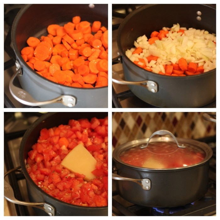 A photo collage of the process of making Creamy Carrot and Tomato Soup from The Organic Kitchen