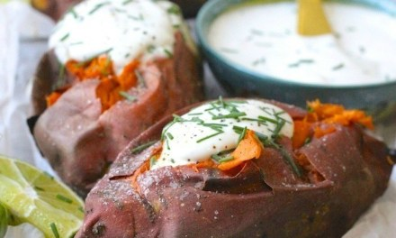 Baked Sweet Potatoes with Spicy Maple Creme Fraiche