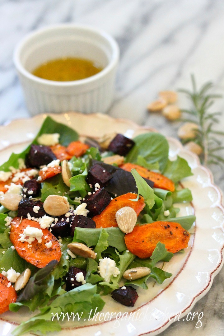 Roasted Beet and Carrot Salad on white plate