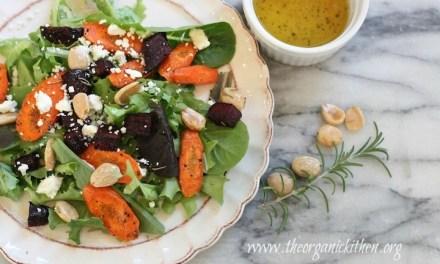 Roasted Beet and Carrot Salad with Lemon White Balsamic Vinaigrette