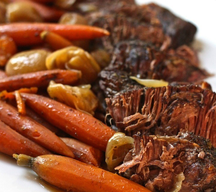 Slow Cooker Pot Roast with Shallots and Baby Carrots
