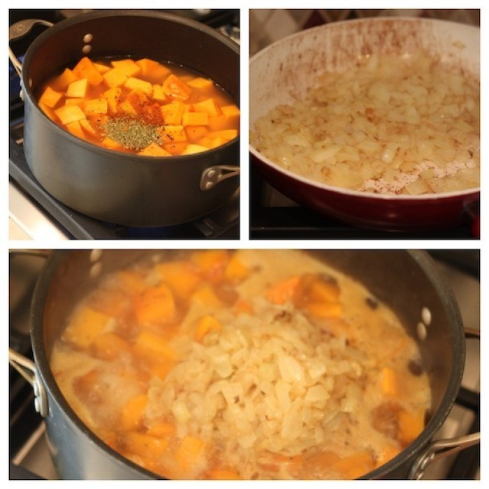 Three photos depicting the process of making savory pumpkin soup