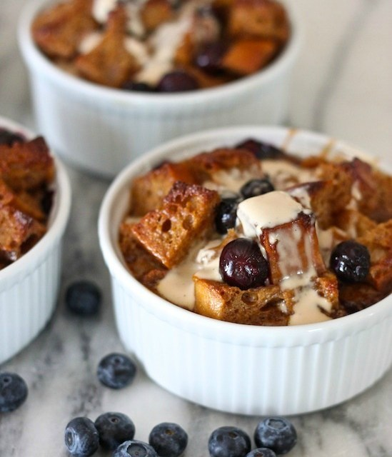 Heavenly Blueberry Bread Pudding with Vanilla Cream Sauce
