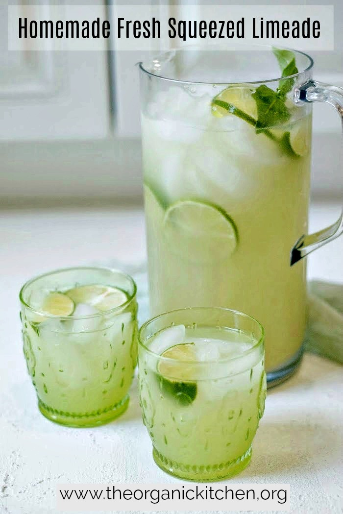 A pitcher and two glasses of Homemade Fresh Squeezed Limeade with Natural Sugar Free Option!