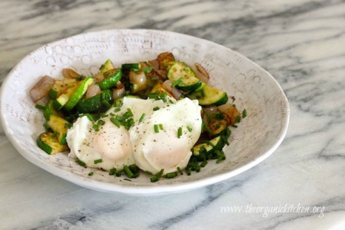 Poached Eggs Over Zucchini Hash