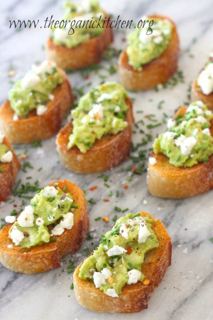 Avocado and Goat Cheese Toastettes with red pepper flakes