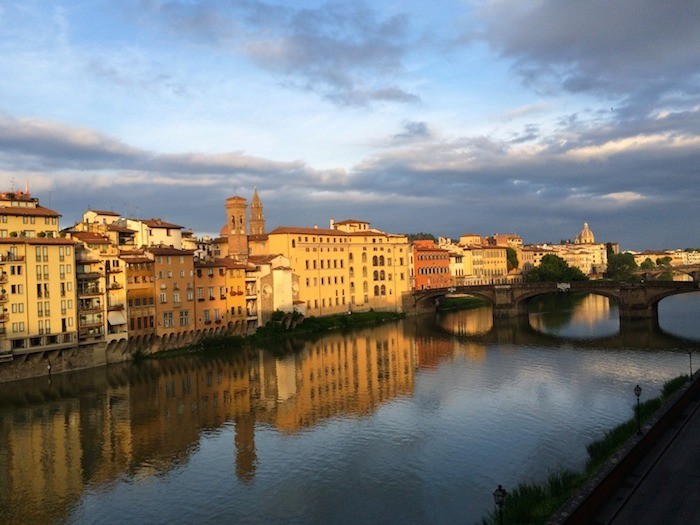The Ponte Vecchio (bridge)over the Arno river in Florence Italy