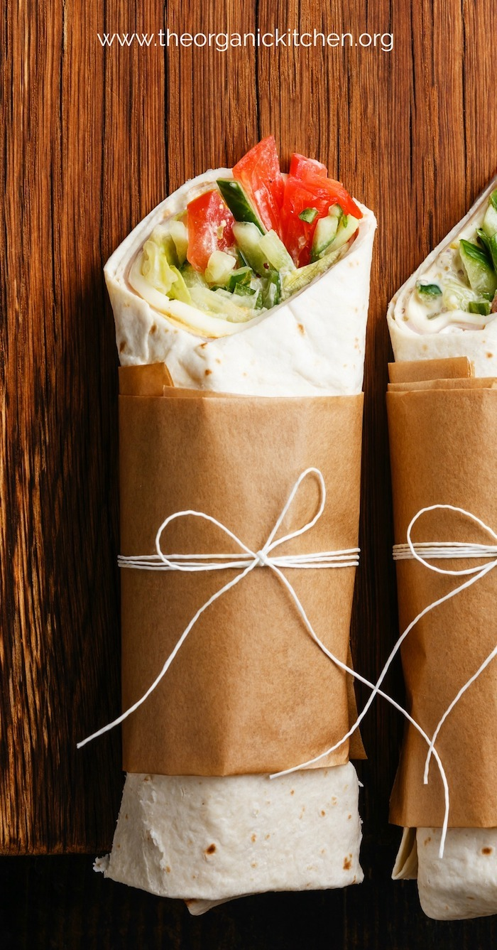 Veggie Wrap~ Five Minute Lunch wrapped in brown parchment and tied with white string