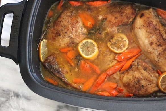 Slow Cooker Lemon Chicken with Rosemary #crockpot #chickendinner #paleo #whole30 #slowcooker