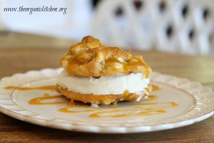 White Chocolate Macadamia Nut Ice Cream Cookie Sandwiches with Salted Caramel Sauce