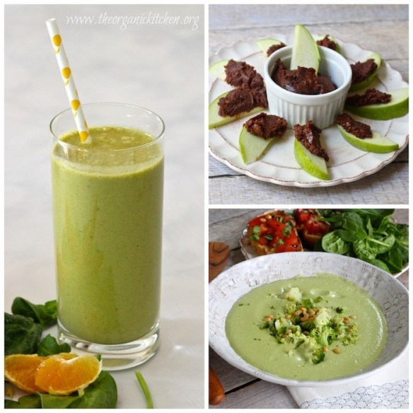 Morning star smoothie, chocolate almond butter, dairy free cream of broccoli soup