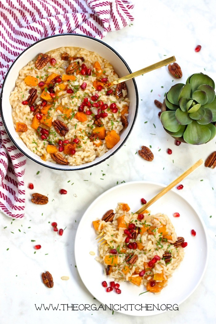 Roasted Butternut Squash Risotto with Candied Pecans- Gluten free, vegetarian