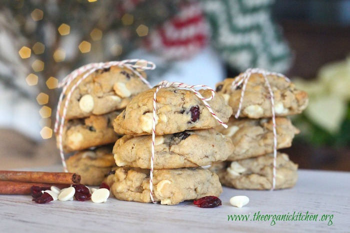White Chocolate Cranberry Bliss Cookies stacked and tied with holiday string