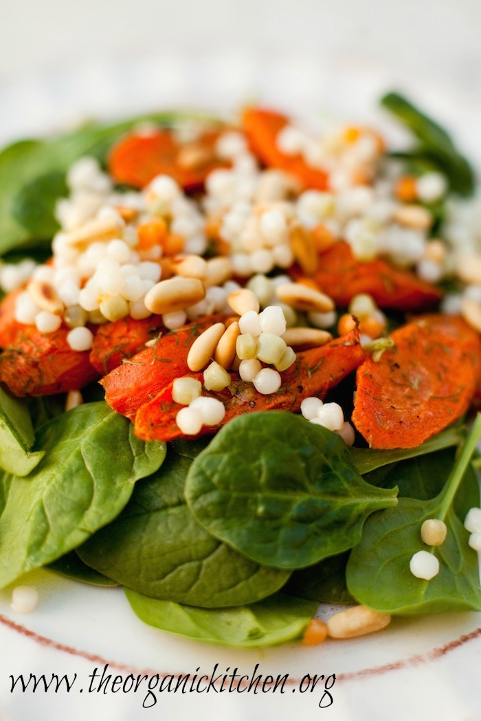 Baby Spinach Salad with Roasted Carrots and Israeli Couscous