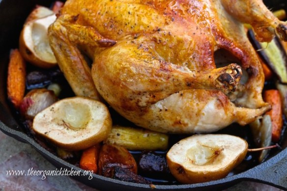 Roasted Skillet Chicken with Honey Ginger Carrots and Forelle Pears