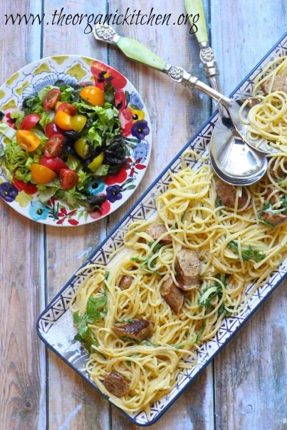 Spaghetti Carbonara with Italian Sausage