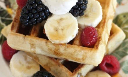 Simple Buttermilk Waffles with Berries, Bananas and Maple Whipped Cream