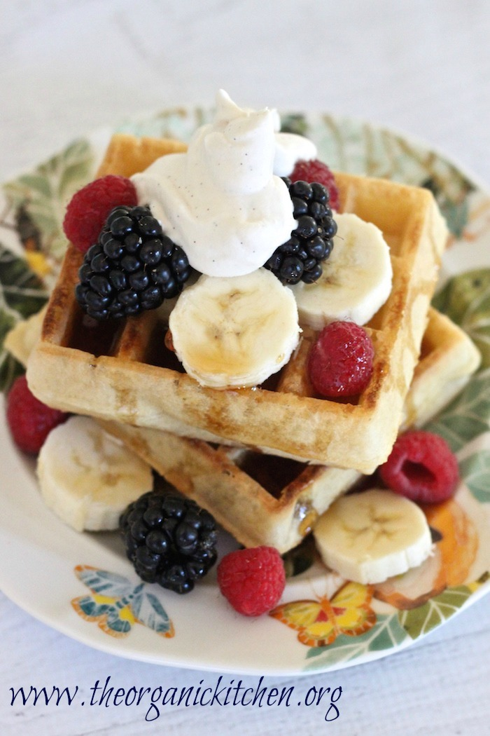 Buttermilk Waffles with Berries, Bananas and Maple Whipped Cream