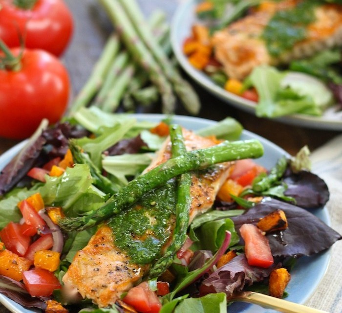 Salmon Salad with Basil Vinaigrette