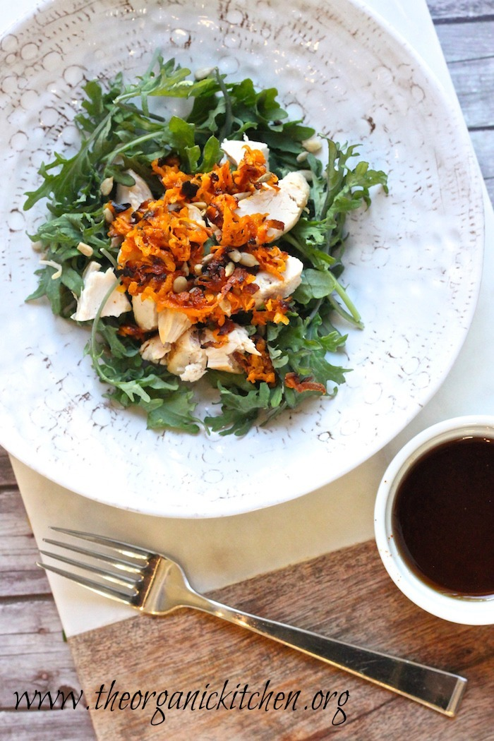 Baby Kale Chicken Salad with Crispy Sweet Potatoes