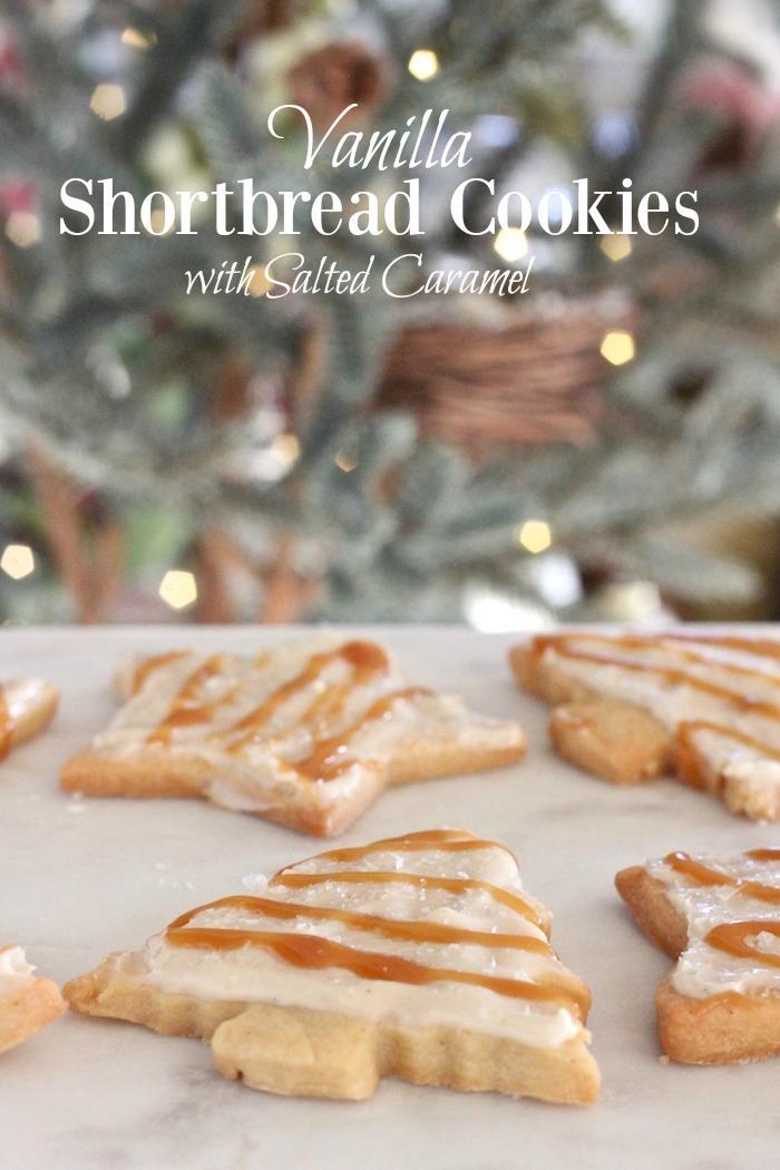 Vanilla Shortbread Cookies with Salted Caramel