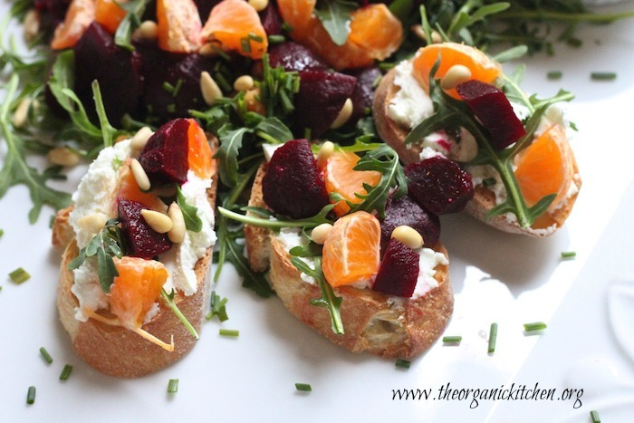 15 Minute Beet and Citrus Salad Crostini