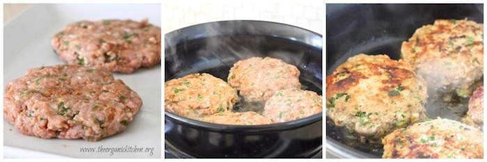 Three photos depicting how to cook Jalapeño Turkey Burgers in a frying pan