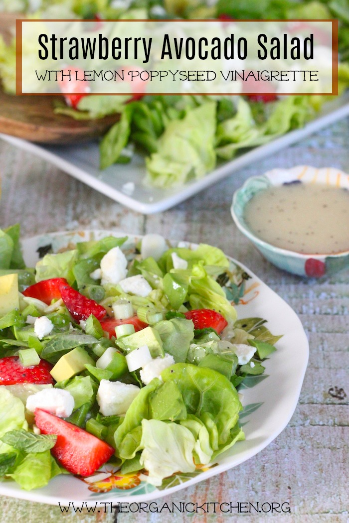 Strawberry Avocado Salad with Lemon Poppyseed Vinaigrette on white plate