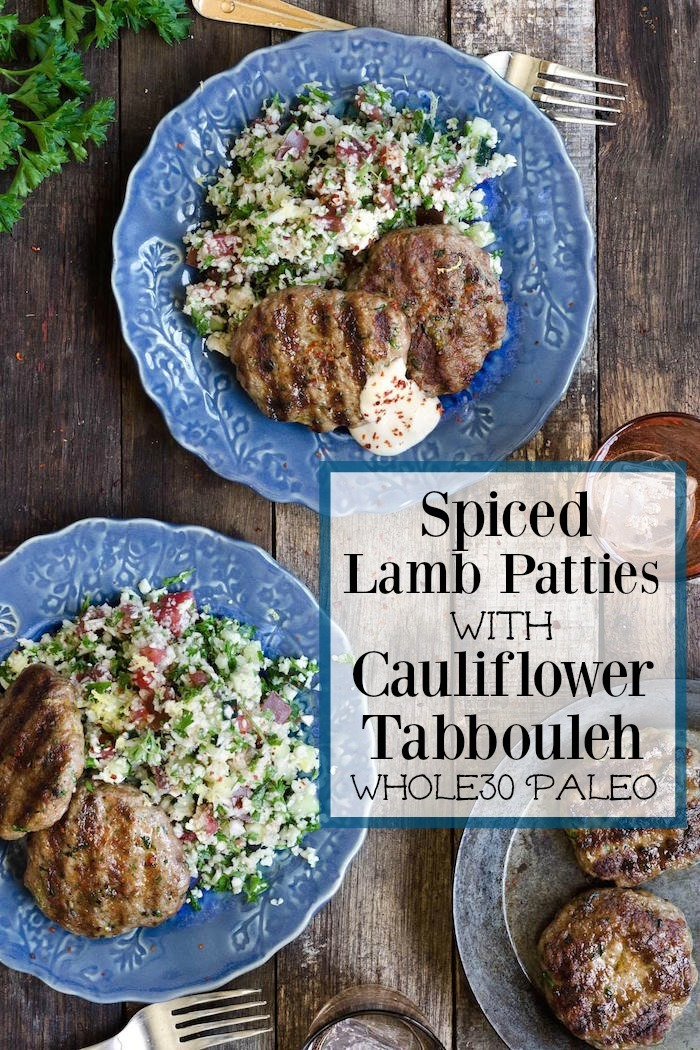 Spiced Lamb Patties with Cauliflower Tabbouleh on blue plates