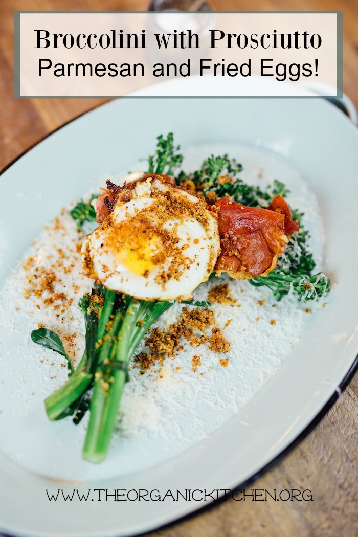 Broccolini with Parmesan, Prosciutto and Fried Egg on blue platter