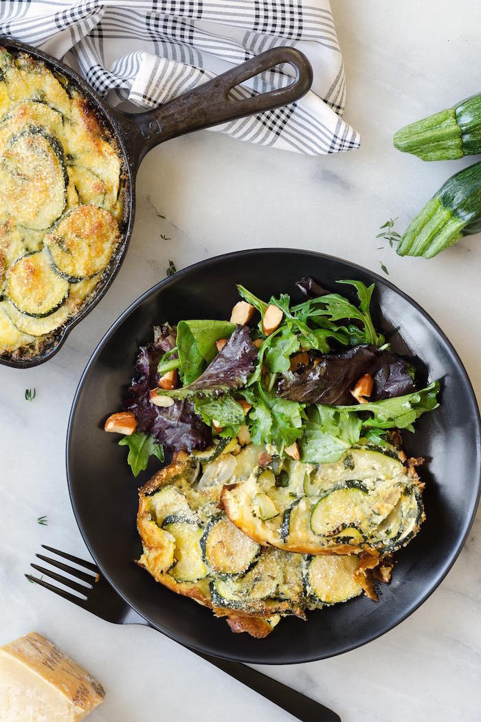 Zucchini Ricotta Torta with Mixed Greens!