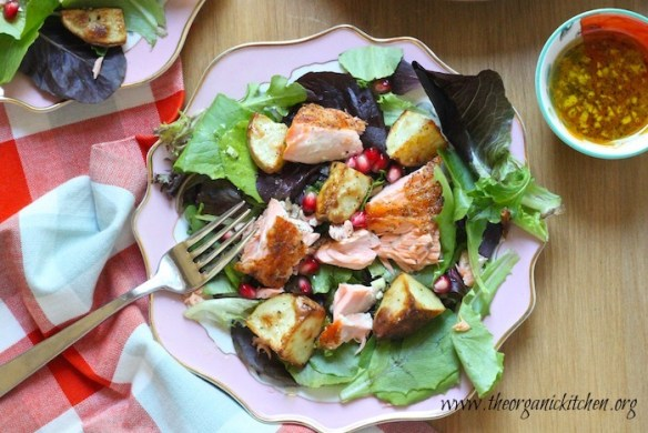Greens with Crispy Salmon and Roasted Potatoes