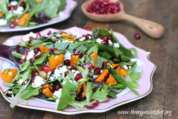 Greens with Roasted Sweet Potatoes and Pomegranate Seeds