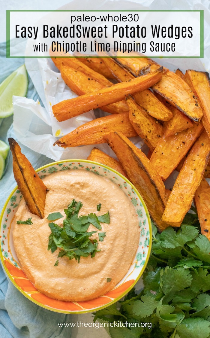 Easy Baked Sweet Potato Wedges with Chipotle Cashew Dip on crinkled white parchment paper