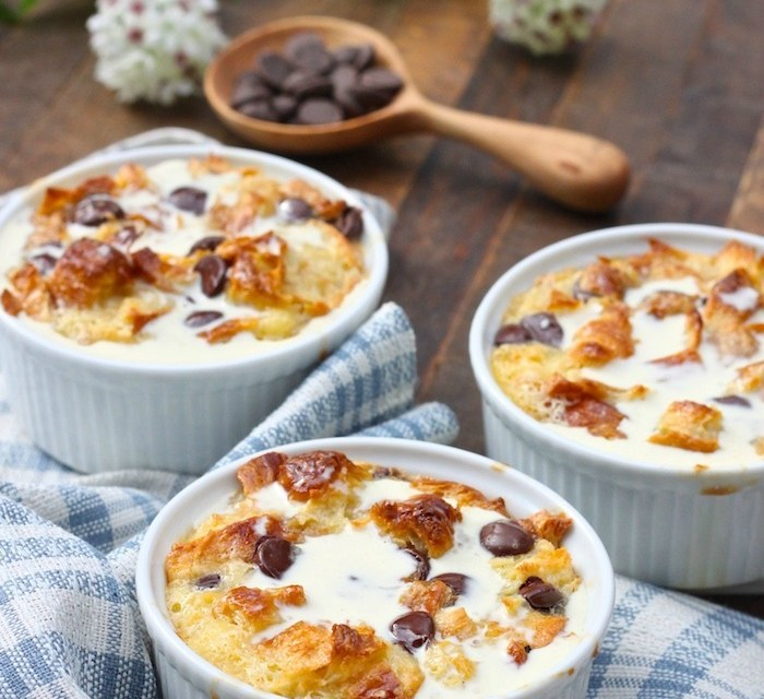 Chocolate Chip Bread Pudding with Vanilla Cream Sauce