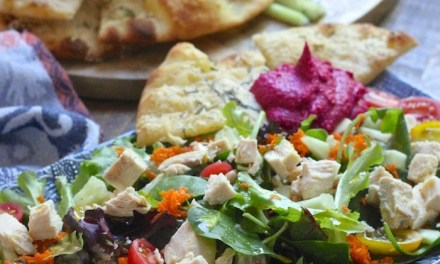 Mediterranean Chicken Salad with Parmesan Flatbread and Hummus