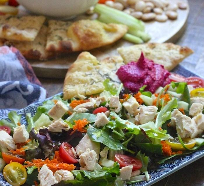 Mediterranean Chicken Salad with Parmesan Flatbread and Hummus