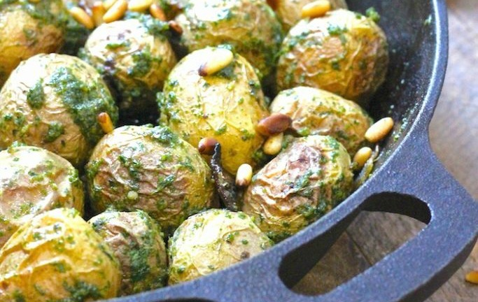 Roasted Baby Potatoes with Pesto