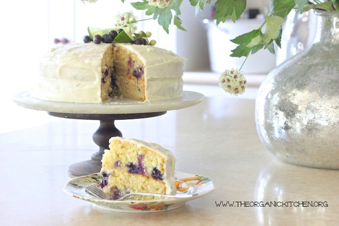 Blueberry Lime Cake with Lime Buttercream Frosting