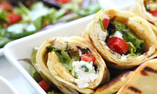 Healthy Grilled Naan Salad Wrap with Herbed Chevre!