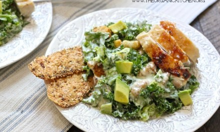 Kale Chicken Caesar Salad (with a Gluten Free Option!)