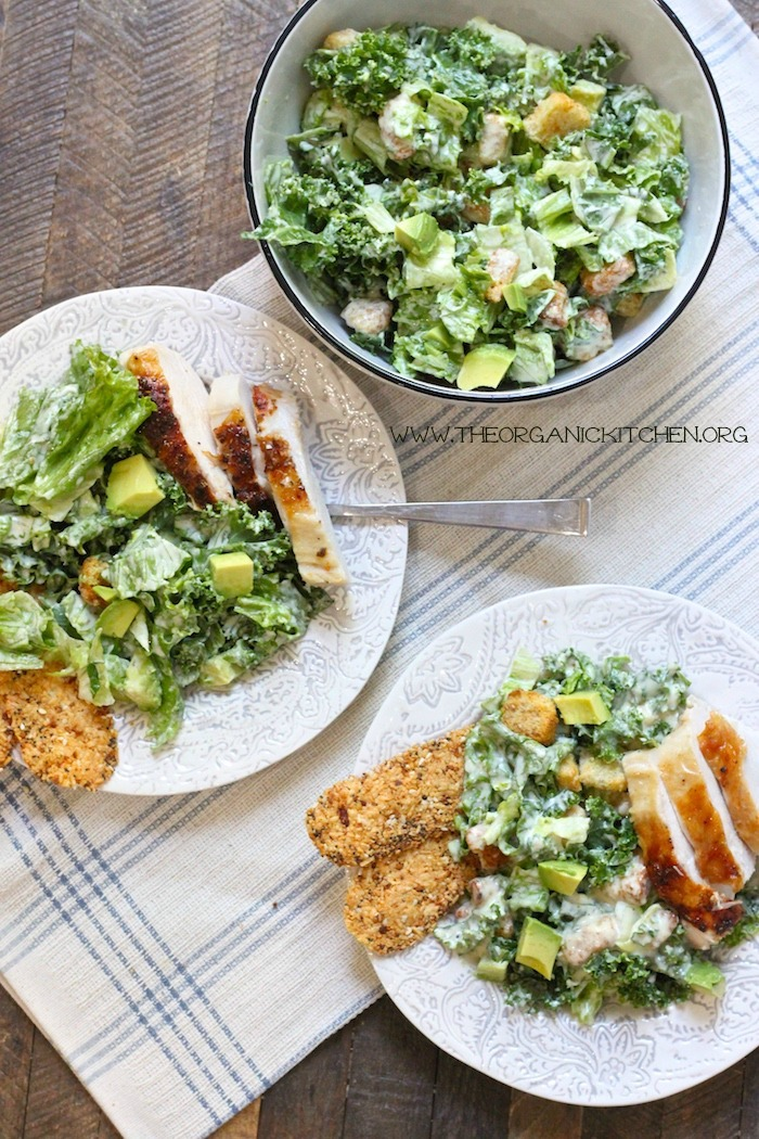Kale Chicken Caesar Salad (Egg and Gluten Free Option!)