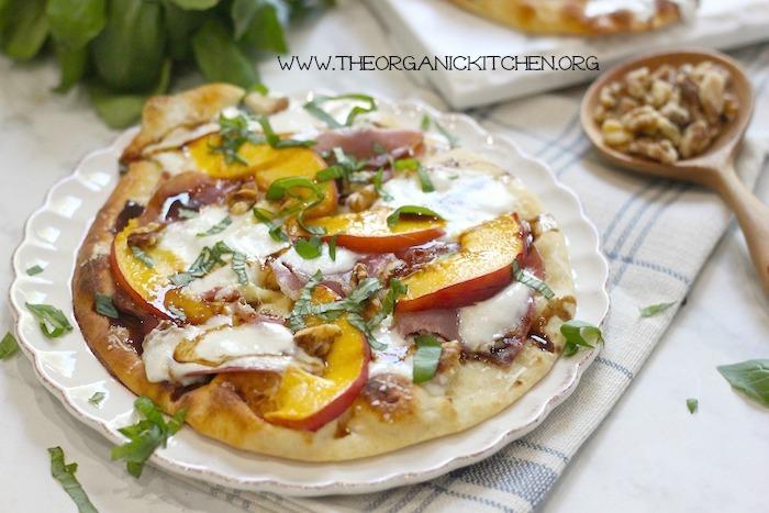 Peach, Prosciutto and Burrata Grilled Naan Pizza!