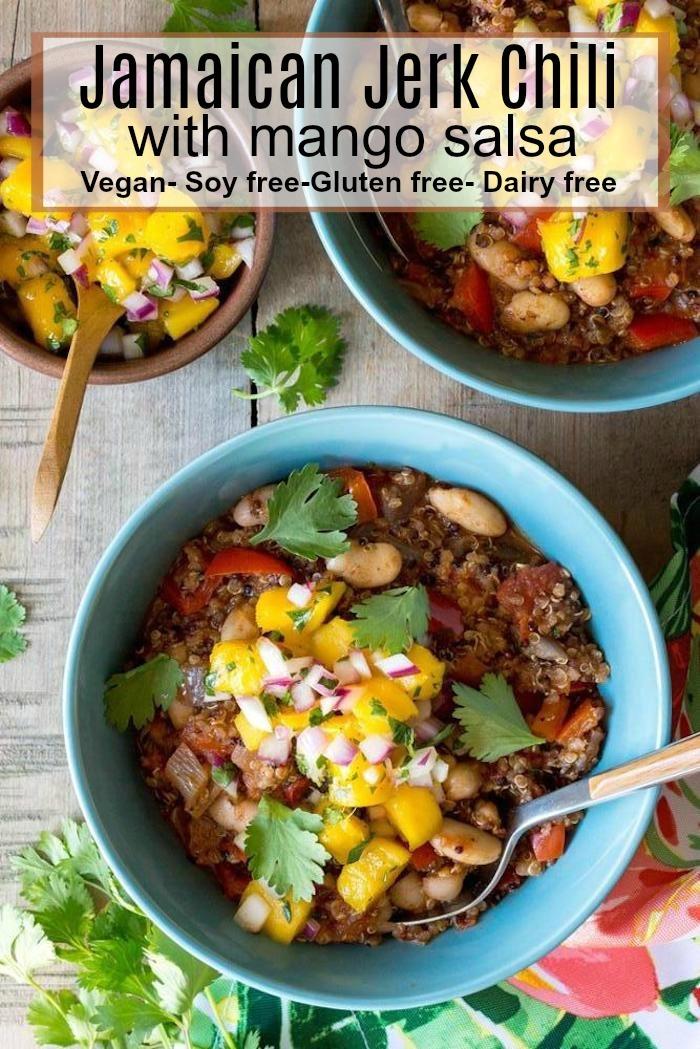 Vegan Jamaican Jerk Chili with Mango Salsa! Gluten free, dairy free, soy free